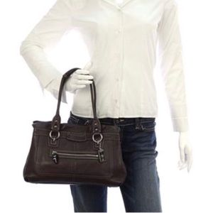 COACH Penelope Brown Pebble Leather Satchel Bag